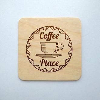 "Костер ""Coffee"" (эко подставка под кружку/стакан/бокал/чашку) из фанеры 11"