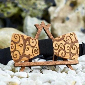 """Галстук-бабочка деревянная """"Завиушки"""". Бабочка из натурального дерева"""