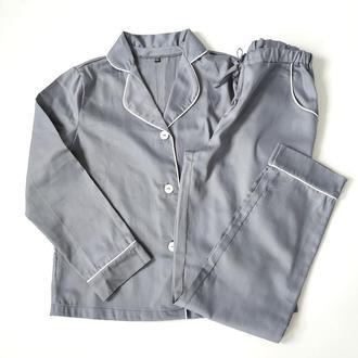Женская пижама штаны и рубашка с кантом