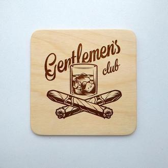 """Костер """"Джентельменский лого"""" (эко подставка под кружку/стакан/бокал/чашку) из фанеры 1"""