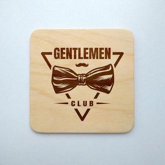 """Костер """"Джентельменский лого"""" (эко подставка под кружку/стакан/бокал/чашку) из фанеры 4"""
