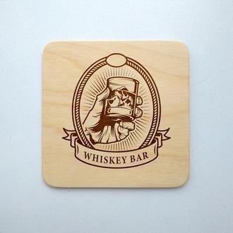 """Костер """"Джентельменский лого"""" (эко подставка под кружку/стакан/бокал/чашку) из фанеры 5"""