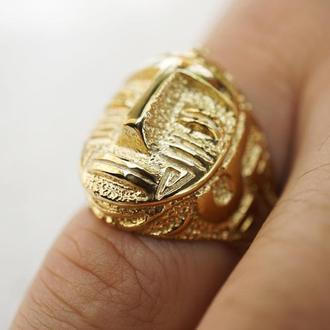 """Мужское серебряное кольцо с позолотой """"AZTEC"""""""