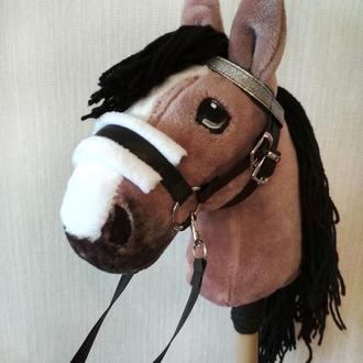 Лошадка на палочке Лошадь игрушка Конь на палочке Мягкий конь на палке