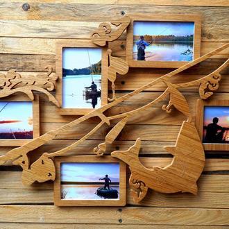 Подарунок для рибака, дерев'яний колаж з 5 фоторамок