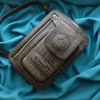 Компактная кожаная сумка на ремне для мужчин