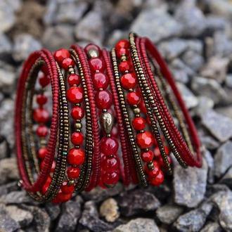 Широкий браслет-пружинка