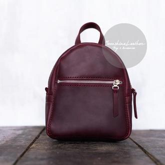 Маленький кожаный рюкзак BABY Backpack бордового цвета