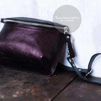 Перламутровая поясная сумка из натуральной кожи / Сумка через плечо