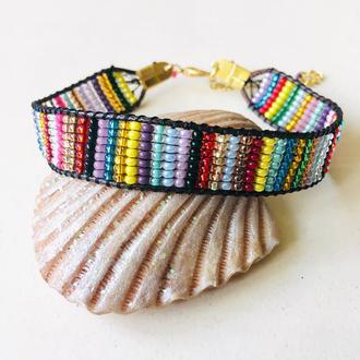 Радужный плетеный браслет из бисера, бисерный браслет, разноцветный браслет