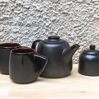 Чайный набор Великан с сахарницей на 2 лица черный