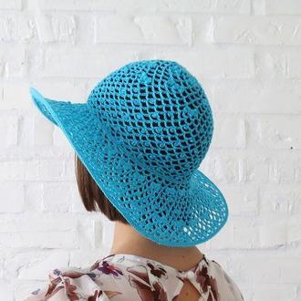 Ажурна капелюх з бавовни, річна капелюх від сонця з широкими полями, пляжна капелюх