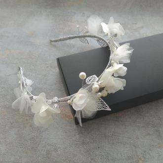 Свадебный ободок , цветочный венок для прически , украшение на выпускной