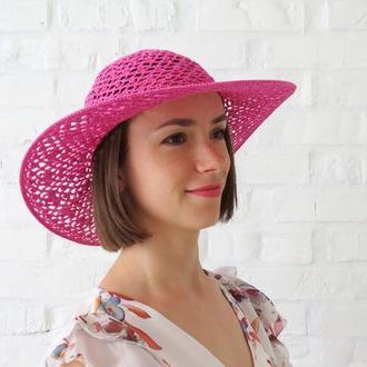 Летняя широкополая шляпа из хлопка, солнечная шляпа розовая, пляжная шляпа