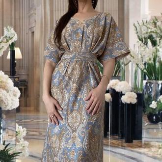 Платье миди сине-золотое
