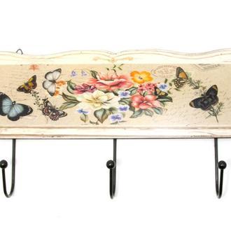 Вешалка для одежды деревянная Бабочка и цветы