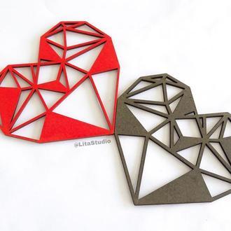 Декор геометрические сердечки из фанеры 12*10 см