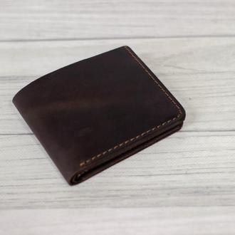 Классический мужской кожаный кошелек. Маленький кошелек из кожи. Бумажник из кожи.