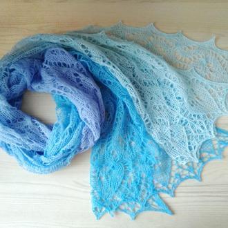 Мериносовый ажурный шарф