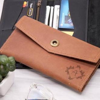 Женский кошелек с бесплатной гравировкой инициалов, натуральная кожа