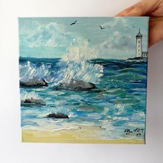 Морской пейзаж маслом на холсте, Брызги волн на берегу, Маяк картина маслом, Море и волны