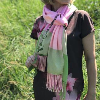 Летний тканый шарф в клетку