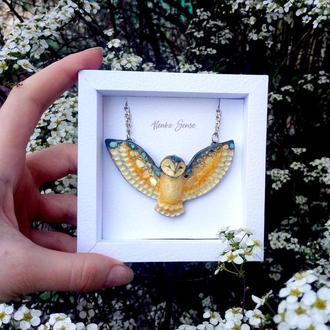 """Кулон совушка """"Рали"""" подвеска сова авторское украшение на шею подарок с сердцем тотем талисман"""