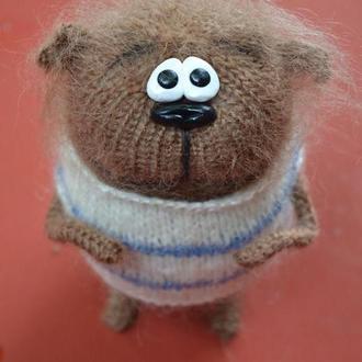 Купить игрушку Кот Толстунчик вязаная спицами для подарка