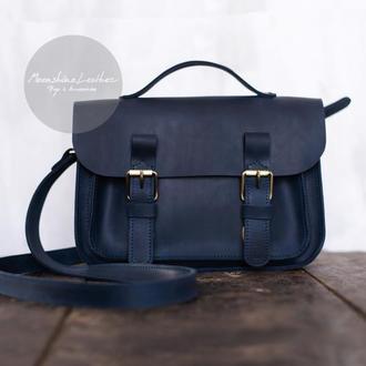 Кожаная сумка School Bag MINI через плечо синего цвета