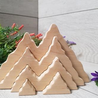 Деревянный пазл Горы Игрушка для складывания Пирамидка Горки Пірамідка Іграшка для складання Гори