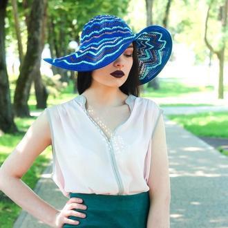 Синяя летняя шляпа с большими полями, капелюх з широкими полями, шляпа от солнца, шляпа на праздник