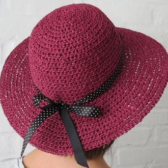 Бордовая летняя шляпа из рафии, соломенная шляпа в наличии, пляжная шляпа