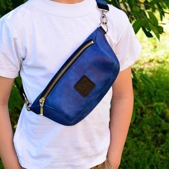 Детская синяя бананка из натуральной кожи, сумка на пояс / плечо