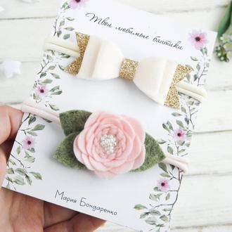 Нежные повязки для девочки / Повязки для малышки в подарок