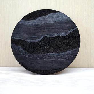 Подставка под горячее черная круглая дерево