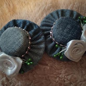 Стильные джинсовые шляпки на заколочках