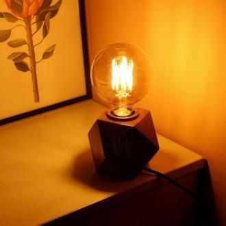 Светильник в стиле лофт из дерева.Лампа Эдисона.Оригинальный подарок на ювилей.Декор в дом
