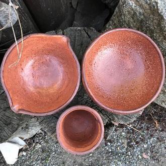 Набор из трех предметов для чайной церемонии - чаван, юноми, катакучи