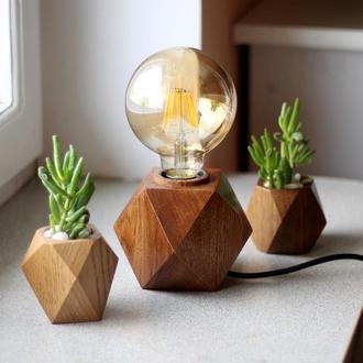 Светильник в стиле лофт + 2 вазонка для цветов.Подарочный набор.Декор в дом.Лампа Эдисона