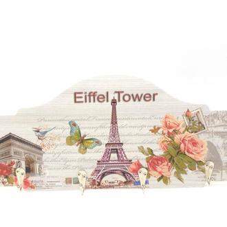 Ключница настенная деревянная Эйфелева башня