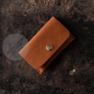 Именной кожаный картхолдер / визитница / мини кошелек