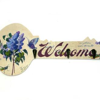 Ключница на стену деревянная Welcome Сирень