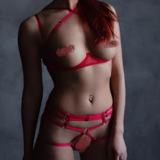Набор, портупея на все тело с подвязками, открытые трусики и бра, женское эротическое нижнее белье