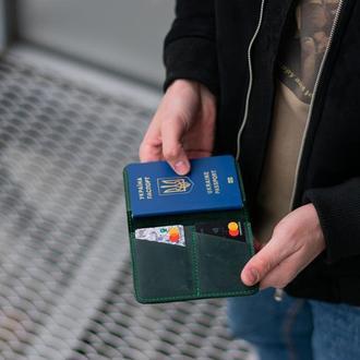 Уникальный кошелек и обложка для паспорта зеленый
