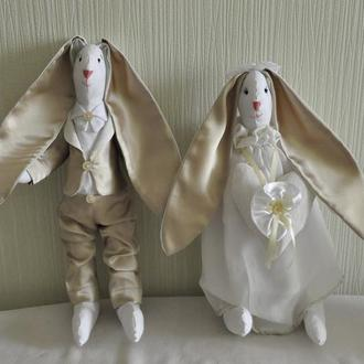 Зайці на весілля, іграшка зайці молодята, весільні зайці, подарунок на весілля, зайчата на весілля
