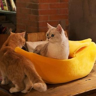 Мягкая лежанка для кота или маленькой собаки. Лежак Банан