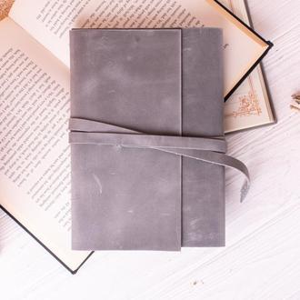 Красивая обложка для блокнота из натуральной кожи серый