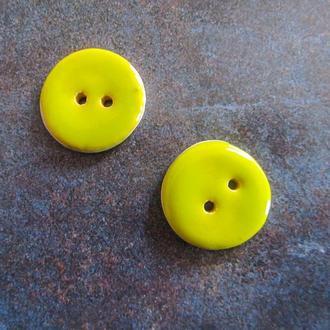 Керамические пуговицы желтые 25 мм