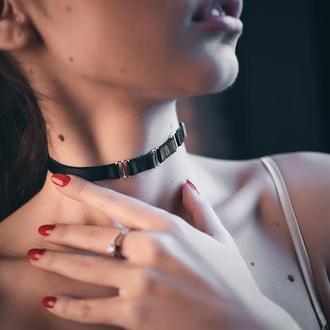 Чокер на шею, классический чокер, ожерелье, колье из на шею, чокер женский с кольцом