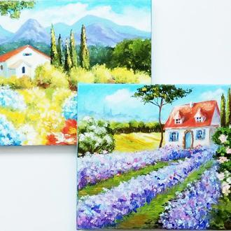 """Картини маслом диптих """"Прованс і Тоскана"""""""